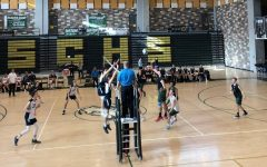 Sage Creek rallies the ball back and forth before hitting it over the net. On Friday, March 22, boys volleyball competed against La Costa Canyon winning 3-0.