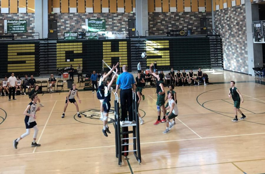 Sage+Creek+rallies+the+ball+back+and+forth+before+hitting+it+over+the+net.+On+Friday%2C+March+22%2C+boys+volleyball+competed+against+La+Costa+Canyon+winning+3-0.