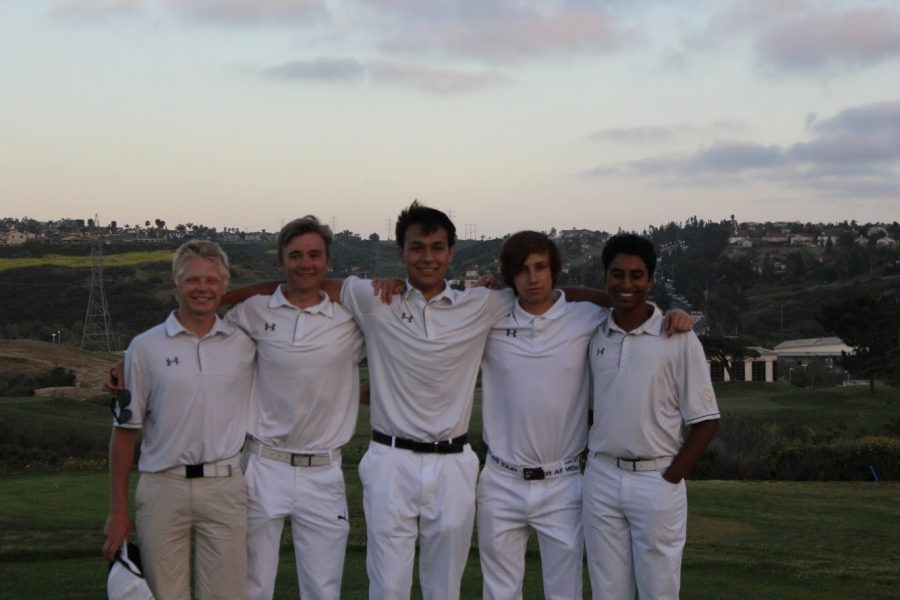 Golf's five seniors lined up after the ninth hole of the day. They celebrated their Senior Night at the Crossings marking the last home match before they head into CIF.