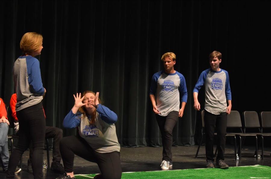 Comedy Sports members, Ari Becket, Kaitlin Korn, Steven Ellingson and Joseph Fox participating in a improvisational comedy contest against Carlsbad on Monday. This was the first match in Allison DelGrande's genius project of creating a comedy improv team for Sage Creek.