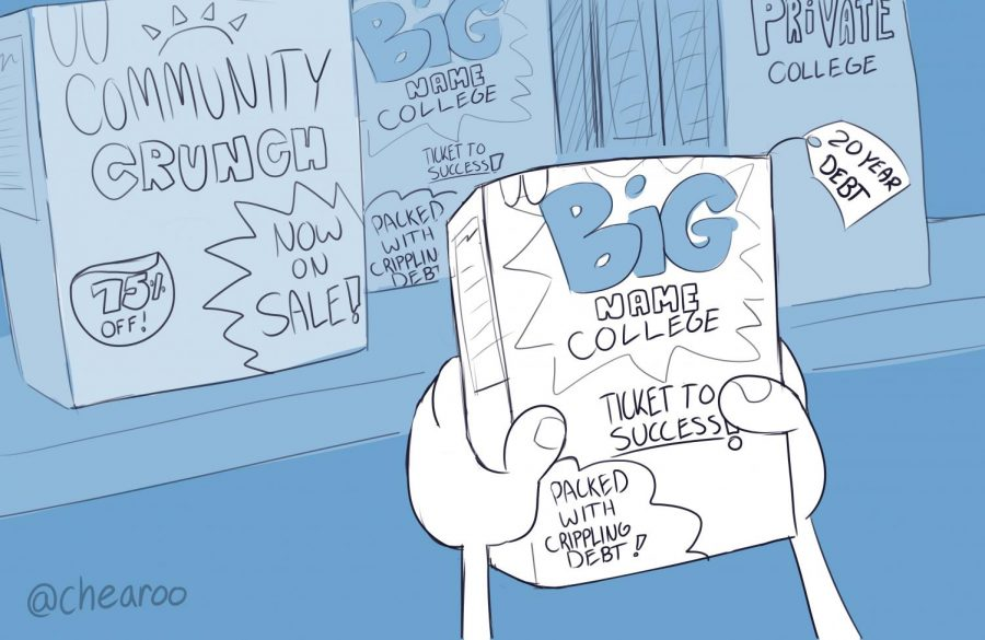 Cereal boxes labeled with Big Name College and Community Crunch are presented to a shopper. This shows the misconception that if you don't go to a certain school with the best reputation, you will not be successful.
