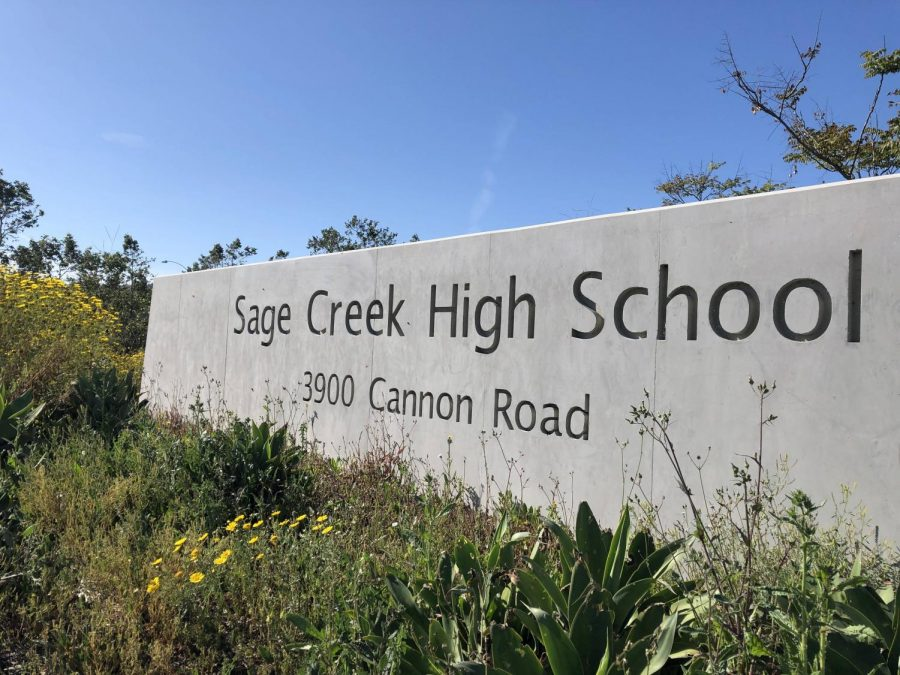The sign below the lower lot displays the current address of SCHS. Faculty will need to figure out a plan on whether or not it is necessary to alter the sign as well.