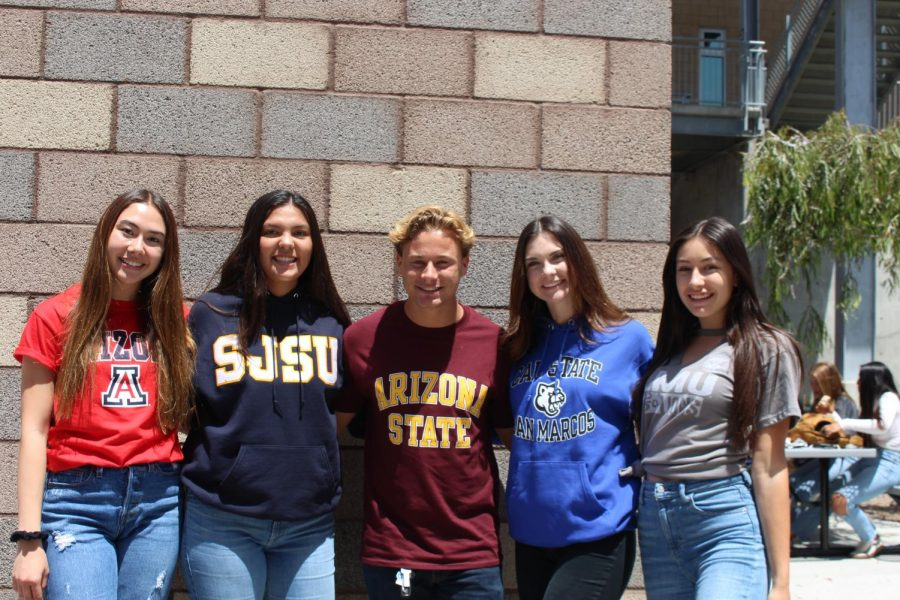 Seniors rep their favorite college gear on National College Commitment Day, May 1. Left to right: Alexis Petty, Tori Cudal, Steve Ellingson, Sydnee Kerekffy and Olivia Mejia.