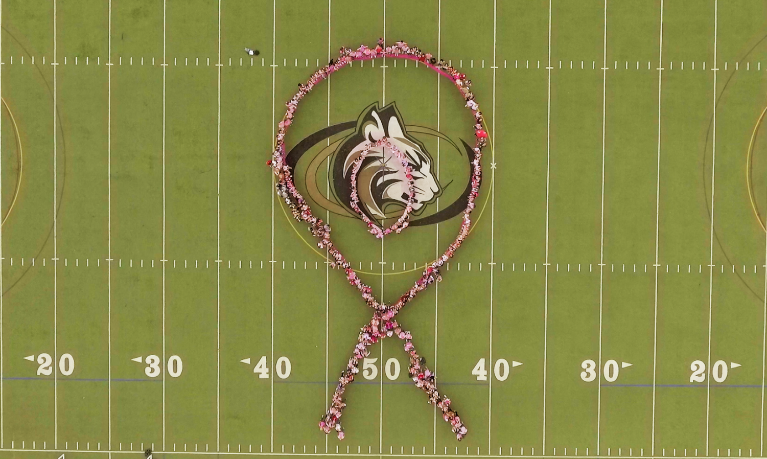 Everyone+celebrated+Mrs.Olivia+by+making+a+pink+ribbon+on+the+athletic+field.+On+Thursday%2C+she+successfully+underwent+surgery+for+breast+cancer.