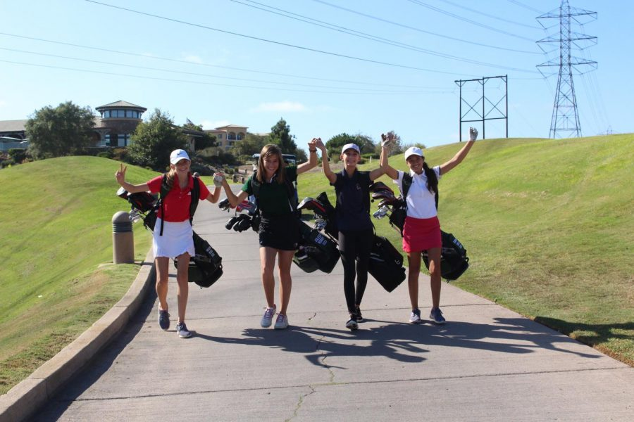 The friendship among golfers (left to right) Kristian Wilmes, Joleen Wobby, Natalia Fanucchi, and Sarina Doss is on another level. The Varsity golfers head over to the driving range to practice the day before their league match versus Oceanside.