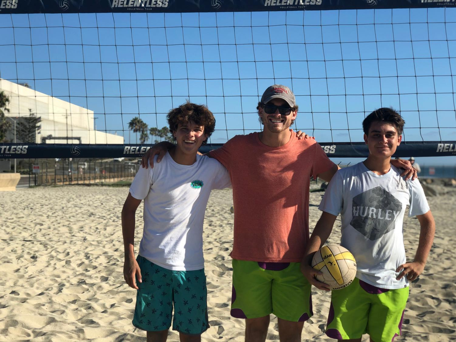 The+boys+beach+volleyball+coach+helps+critique+sophomore+Josh+Lintner+and+sophomore+Shawheen+Fahr+after+their+close+loss+against+Carlsbad+High+School.+They+participated+in+this+scrimmage+on+Tuesday%2C+Sept.+17+and+are+focused+on+improving+for+upcoming+games.