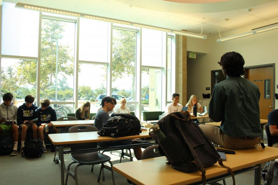 Students listen to a college representative. Last Thursday, Oct. 17, University of San Diego stopped by Sage Creek's College and Career Center to pitch their colleges to students.