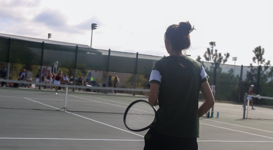 Seniors Samantha Low and Sydney Tomaneng (not pictured) were ready to receive Tri-City Christian School's serve on Wednesday, Oct. 9, on their doubles match.