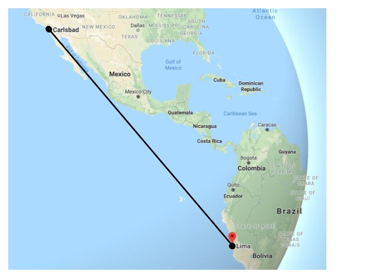 On October 25, Mckenzie Bruno will be traveling to Lima, Peru. Lima is a long travel - just over 4,000 miles away from Carlsbad.