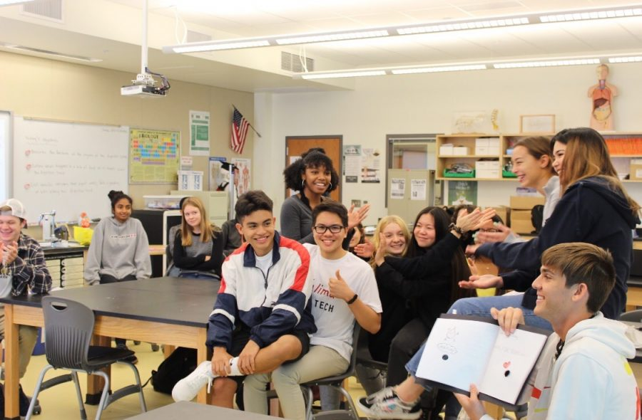 Biomed students applaud after classmate presents booklet on digestion on Tuesday. Biomed is a part of the biomedical pathway here offered at Sage Creek.