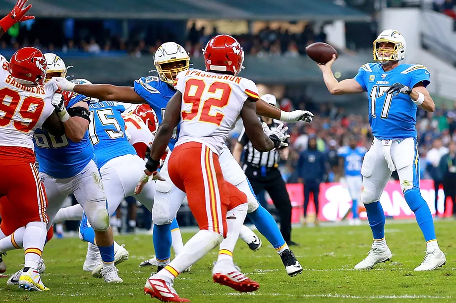 Chargers quarterback Phillip Rivers was unable to defeat the strong Chiefs defense on Monday.