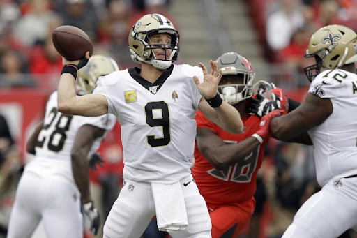 Saints quarterback Drew Brees scored four touchdowns on Sunday against the Buccaneers in Tampa Bay.