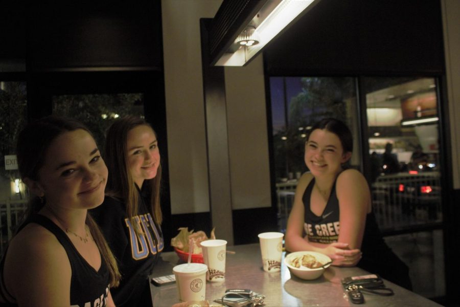 Three Sage Creek students dine in at Chipotle on December 11. A fundraiser was held at the Chipotle off of Palomar Airport Road to help support the swim team.