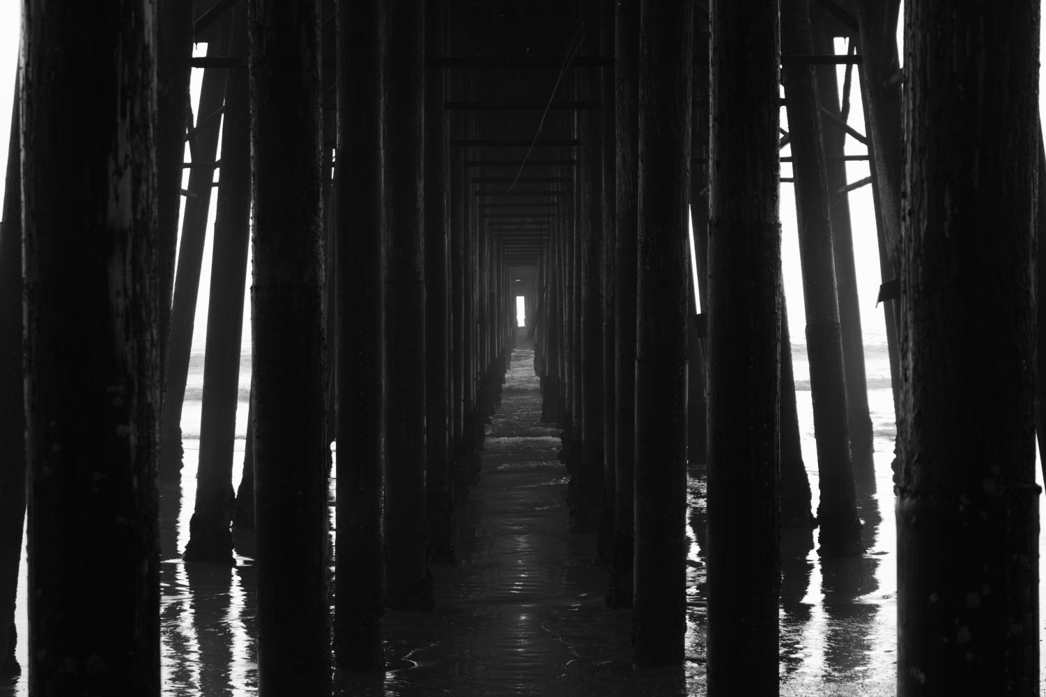Just below the Oceanside Pier, the wooden columns create a cinematic look that cuts across to the other side of the pier. The Pier was built in 1888 and was only 300 ft long, but after a few reconstructions, the total length has been multiplied into 1,954 feet.