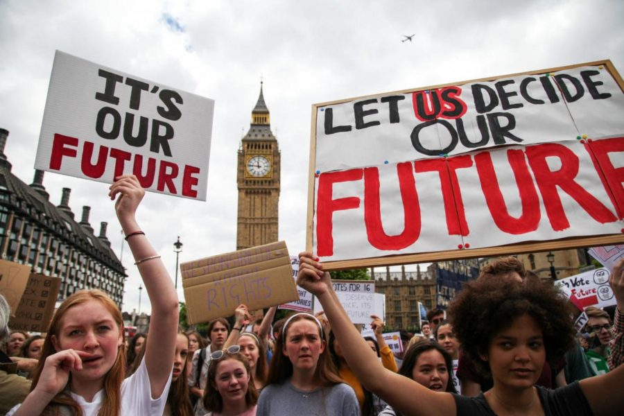 Persons between the age of 14 and 16 hold up signs encouraging the legal voting age to be dropped to the age of 16. Though this protest occurred across waters in London, this state of mind is held among young people globally.