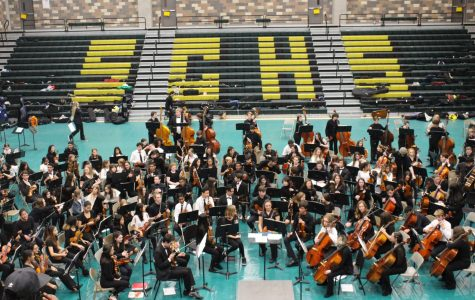 Students prepare to perform the final piece for the CUSD combined orchestra concert. On January 27, CUSD Middle schools, Hope elementary and Sage Creek High School performed all together.