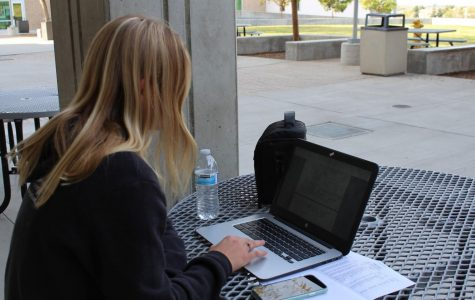 Junior Sophia Vanslyke works diligently on her chromebook during her first period off-role. Because the devices were issued out to each individual, students can now use their Chromebooks outside of class.