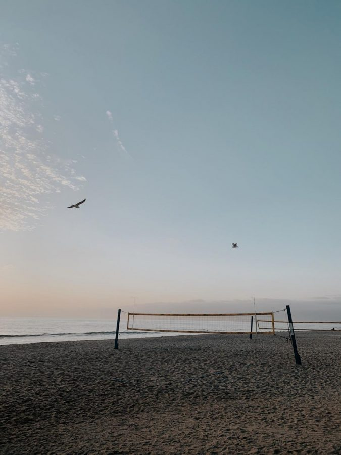 Beach Volleyball is a partner sport that teaches athletes critical-thinking and communication skills. Pictured above is the net at Frazee Beach, where the Sage Creek team practices.