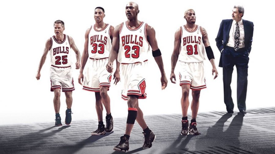 (left to right) Steve Kerr, Scottie Pippen, Michael Jordan, Dennis Rodman, and Phil Jackson on the front cover of