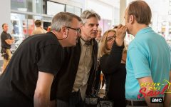 "Co-creators Vince Gilligan (left) and Peter Gould (center) work with Bob Odenkirk. Vince Gilligan created the hit show ""Breaking Bad"" and developed the prequel with Gould."