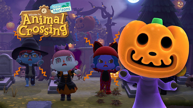 "Jack, the Halloween Czar (right) and ""Animal Crossing: New Horizons"" players posing for a picture. Jack, the Halloween Czar has been featured in almost every game except for ""Wild World"" in the Animal Crossing series."