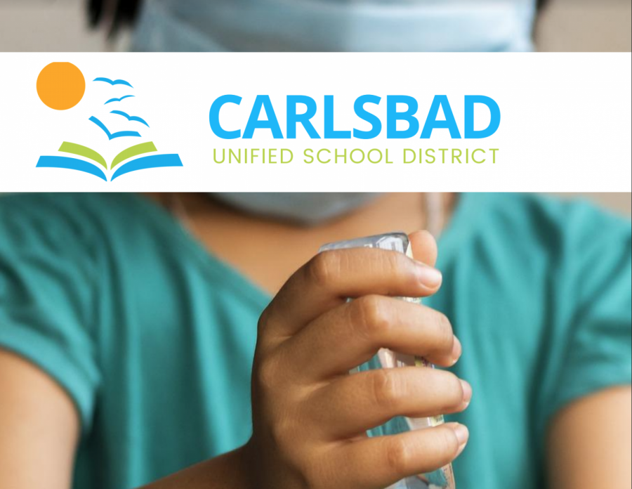 A+school+girl+wearing+a+mask+uses+hand+sanitizer+to+keep+bacteria+off+her+hands.+CUSD+has+implemented+a+whole+new+set+of+guidelines+to+help+students+and+staff+stay+safe+and+healthy+during+school+reopenings.+