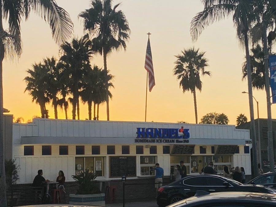 """Carlsbad locals safely wear masks while they order ice cream on this hot fall night at """"Handel's Homemade Ice Cream"""". One of downtown Carlsbad's favorite ice cream shops, """"Handel's"""" first opened back in 1945, and has since brought delicious homemade ice cream to citizens all over the United States."""
