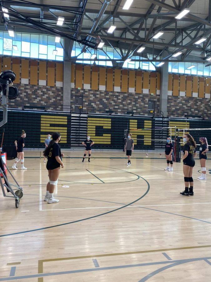 The girls volleyball team returns to campus for an open-gym in safe cohorts. This past week, many sports including volleyball, baseball, track and field and cross country have returned to campus for conditioning and practices.