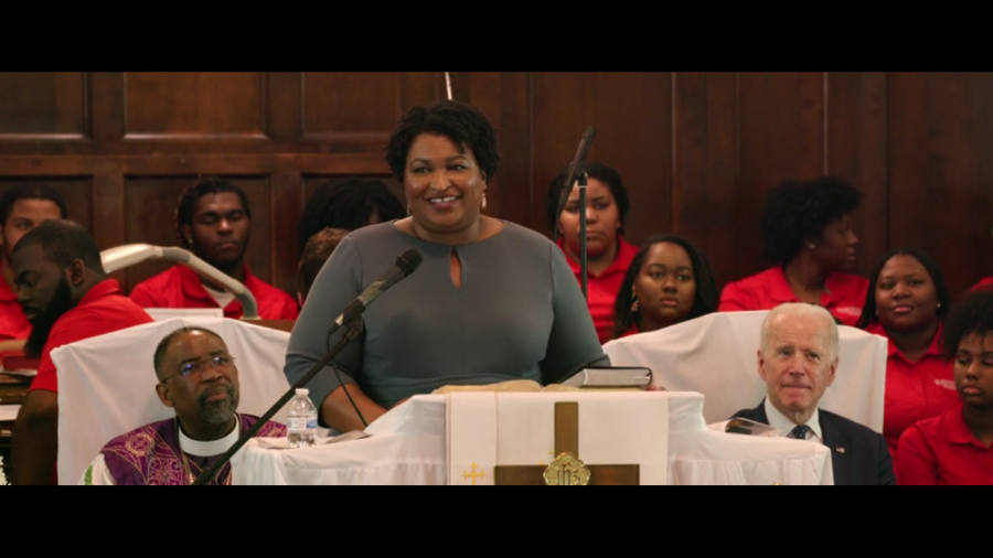 Stacey Abram's speaks in Selma, Alabama on the anniversary of Bloody Sunday the day civil rights demonstrators were attacked by the police on Edmund Pettus Bridge. Abrams joined other leaders to walk over the bridge that same day to celebrate the anniversary.