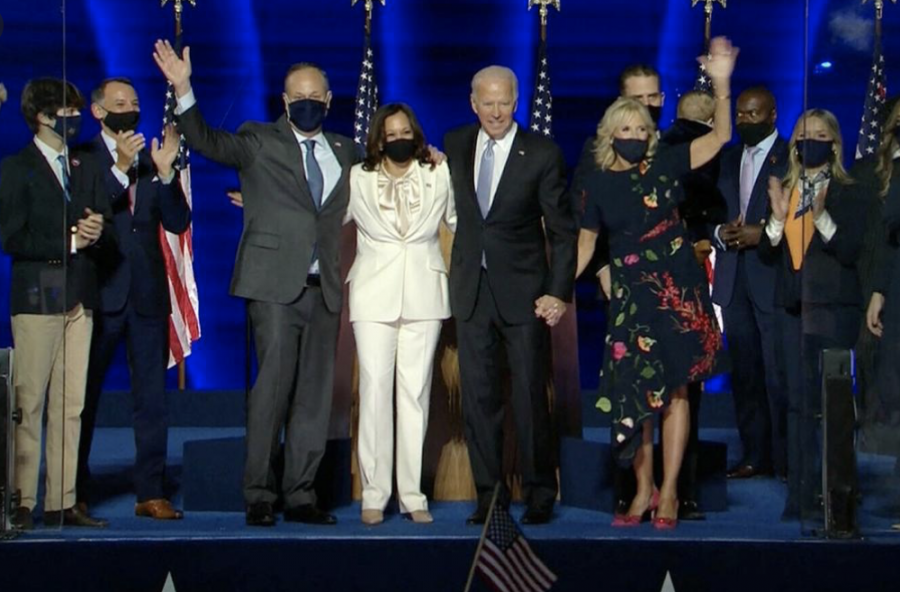 After Kamala Harris and Joe Biden's speeches are over both their families come out to watch the fireworks. Continus applause from the supporters to express the gratitude. The two will be elected into office on Jan. 20, 2020.