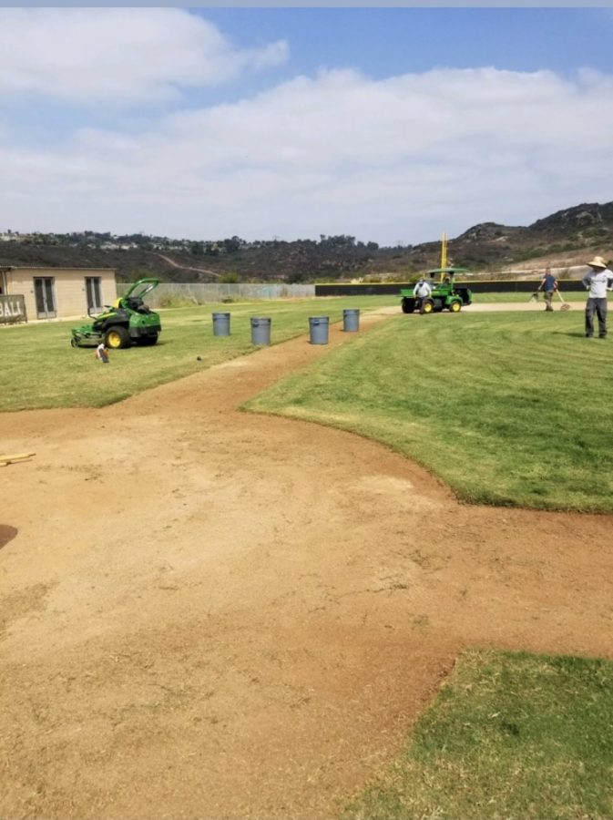 Carlsbad Unified maintenance crew is cleaning up the baseball field in preparation of students returning for out of season athletics. On Oct. 12 student athletes were welcomed with a clean and playable field.