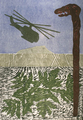 The image shows a helicopter flying over Vietnam. The painting was made in honor of an interview with Hougesen to auction the prints off for money.