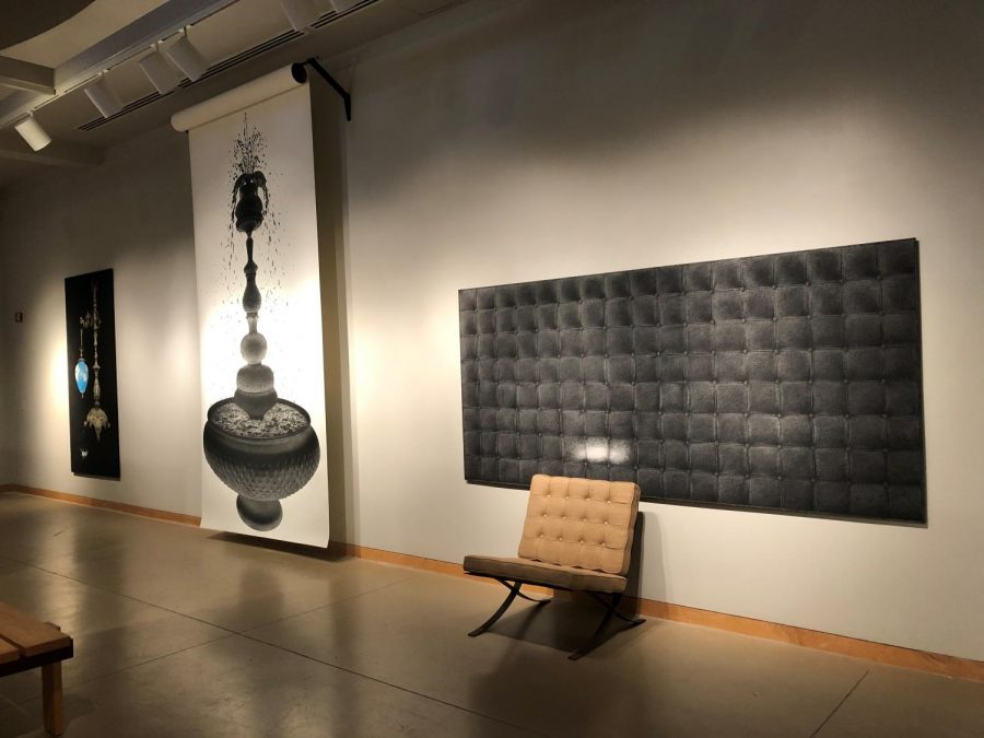 Marisol Rendón's pieces on display give viewers the deceit-the-eye effect with her precise graphite drawings. Rendón's interest in making two dimensional works appear as three dimensional are evident in her pieces.