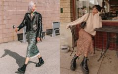 Two women show off their fall outfits in street style photos. They both wore Doc Martens Smooth Leather Boots styled with long skirts and warm jackets for fall.