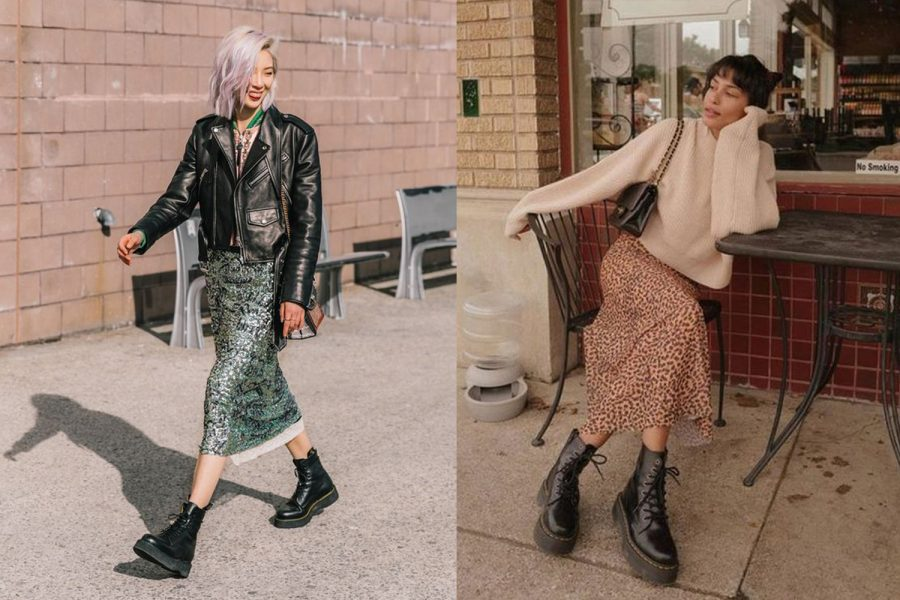 Two+women+show+off+their+fall+outfits+in+street+style+photos.+They+both+wore+Doc+Martens+Smooth+Leather+Boots+styled+with+long+skirts+and+warm+jackets+for+fall.