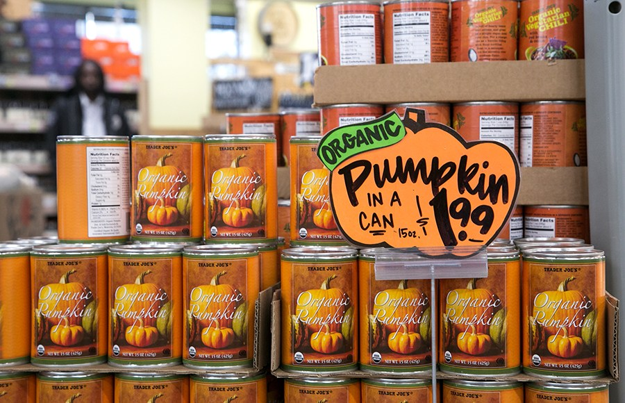 The+quintessential+food+item+featured+at+Trader+Joes+in+the+fall%3A+Pumpkin+in+a+Can.+Trader+Joe%27s+is+the+go-to+place+to+find+fall+food+essentials%2C+including+necessities+like+Spiced+Cider%2C+Cranberry+Sauce%2C+Stuffing+Mix%2C+and+more.