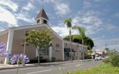 Located in the Carlsbad Village, Carlsbad Mission Church. Service at Mission is now held outside with the fresh air and blue skies.
