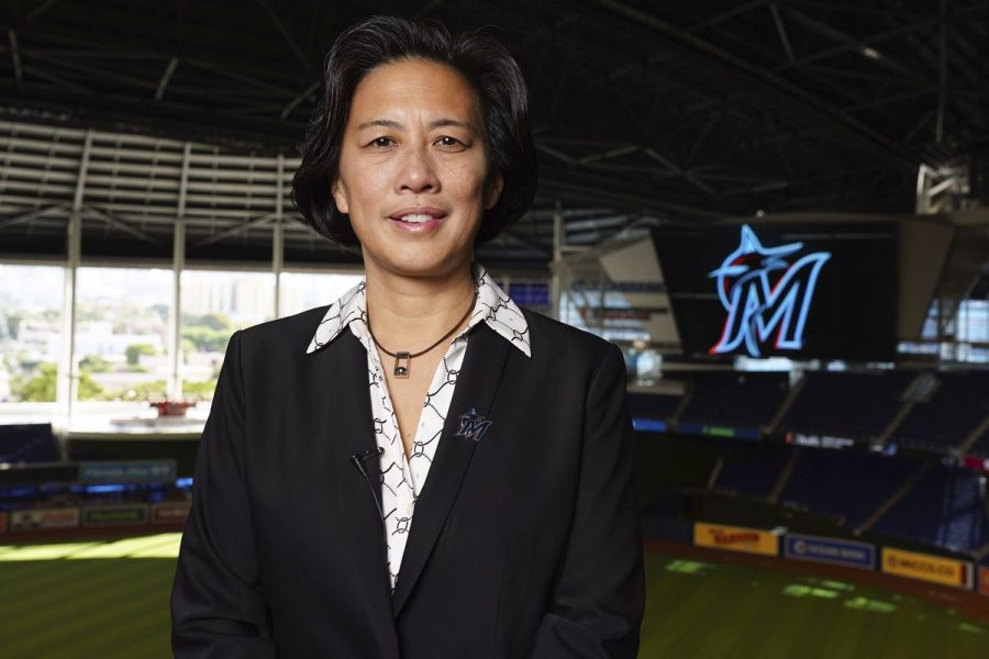 Kim Ng stands in Marlins Park, her new home as she takes the reigns of the Miami Marlins. She looks to bring the Marlins back to the postseason and bring a championship to Miami in her tenure.