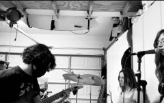 The rock trio rehearse and record together. Since the pandemic, their practices have been less consistent, although they try to maintain a set rehearsal schedule.