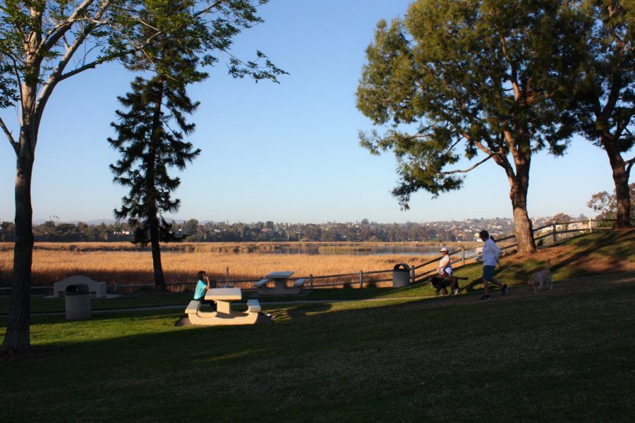 Carlsbad residents take in the overlook of the Buena Vista Lagoon at Maxton Brown Park. The park was established in 1965 to honor Lt. Maxton Brown Jr. who spent hours sighting over 150 species of birds at the lagoon.