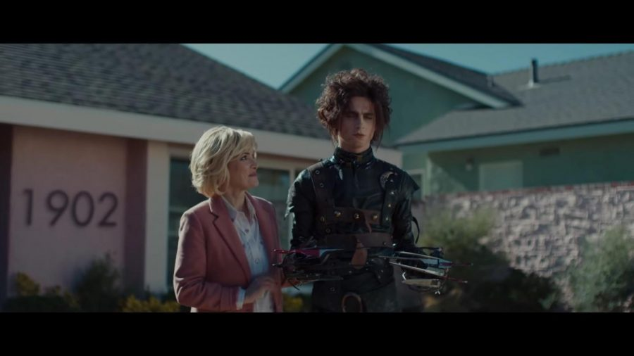 """Winona Ryder and Timothy Chalamet star in a parody Cadillac commercial, """"Edgar Scissorhands."""" Ryder now plays alongside the cutting character once again after her appearance in the 1990 film, """"Edward Scissorhands."""" Chalamat plays a man who can't enjoy many of the little things in life due to his rather sharp hands, but in the commercial, his problems are solved once he is able to drive a new Cadillac."""