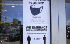 This sign is present at the entrance to the Shops at Park Lane in Dallas, Texas. With the lifting of the coronavirus restrictions in Texas, businesses now have the opportunity to make masks a requirement or not.