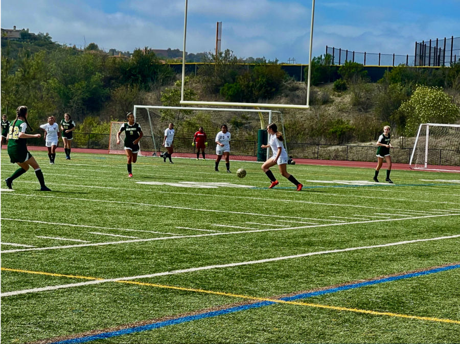 JV girls soccer battles Vista High School in a game last Wednesday. The game ended with a tie of 0-0, leaving the JV girls undefeated.