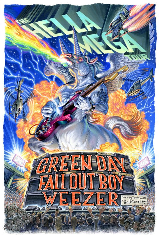 A large horse performs in front of a massive crowd as explosions and helicopters circle the area. This poster serves as the official Hella Mega Tour poster as it presents the three main attractions, Green Day, Weezer and Fall Out Boy, as well as their special guest band, The Interrupters.