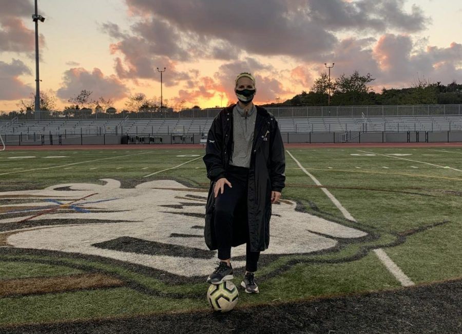 Feature: Coach Madison McLean poses in the Bobcat Arena following a practice with her team. Mclean, a mathematics teacher took the role of Varsity girls soccer coach in 2021 propelling a team to a league championship and a CIF.