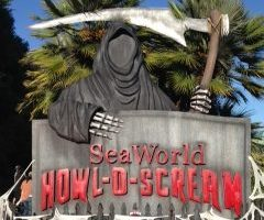 SeaWorld Howl-O-Scream sign greets guests as they walk in for a perfect photo opportunity. SeaWorld San Diego hosts its first ever Howl-O-Scream event.