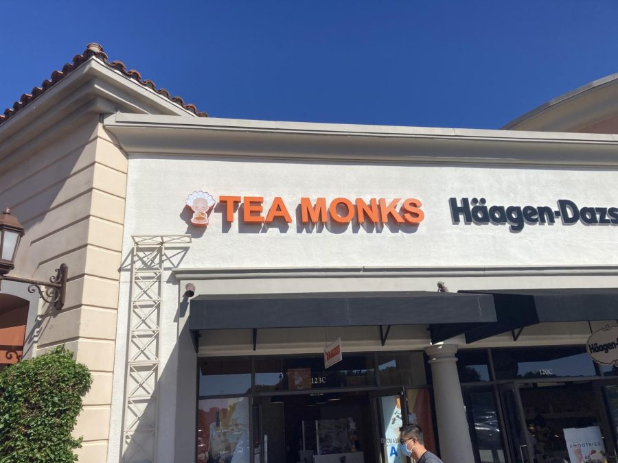 Tea Monks' bright orange logo, right next to the Haagen-Dazs and Wetzel's Pretzels at the outlet mall. Tea Monks is located at 5620 Paseo Del Norte Carlsbad, CA 92008.